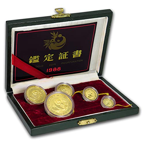 (CN 1988 China 5-Coin Gold Panda Proof Set (Sealed, w/Box & COA) About Uncirculated)