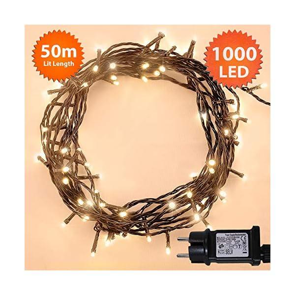 ANSIO Luci natalizie Luci natalizie esterne 1000 LED 10 m bianco caldo interno Catena luminosa interna Funzione memoria albero di Natale, alimentazione elettrica Lunghezza illuminata 50 m - Cavo verde 2 spesavip