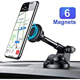 Car Phone Mount, Magnetic Phone Car Mount with 6 Strong Magnets, Cell Phone Holder for Car Dashboard Windshield Adjustable Car Cradle Mount Compatible with Cellphone 3''-7'',iPad Pro, by Ainope