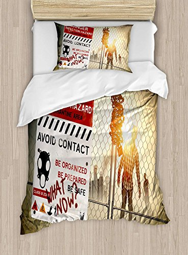 Fantasy Star King Bedding Sets,Zombie Duvet Cover Set,Dead Man Walking in Dark Danger Scary Scene Fiction Halloween Infection Picture,Include 1 Flat Sheet 1 Duvet Cover and 2 Pillow Cases -