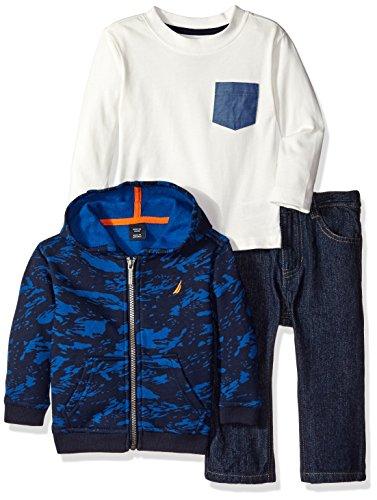 Nautica Baby Three Piece Set with Fleece Hoodie, Long Sleeve Tee, Denim Jean, Sport Navy, 12 Months