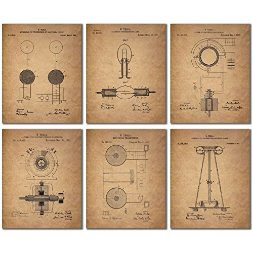 Tesla Patent Wall Art Prints - Set of Six Vintage 8x10 Photos ()