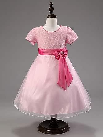 فستان الاميرة بناتي ملائم لموكب وصيفات العروس ولحفلات الاطفال، من فلور جيرل فستان باليه، لون زهري، ملائم لعمر 6- 7 سنوات