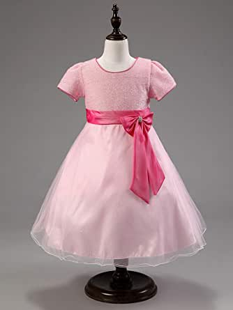 Pink Color Pageant Flower Girls Princess Dress Kids Party Wedding Bridesmaid Tutu Dress 6 To 7 Year