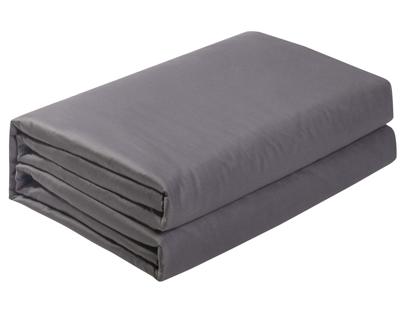 PHF Flat Sheet 300 Thread Count Satin 100% Cotton Natural Soft Durable Breathable Warm for Winter Queen Size Grey by PHF