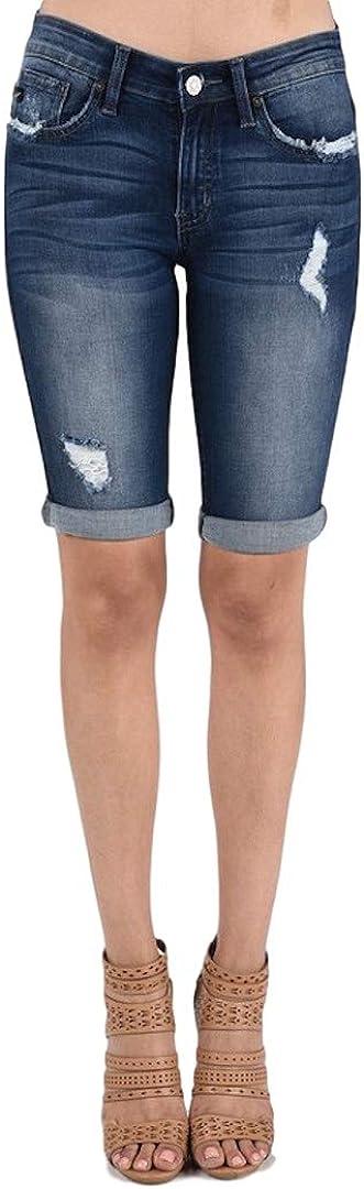 KanCan Jeans Mid-Rise Bermudas Shorts Dark Wash KC6110D