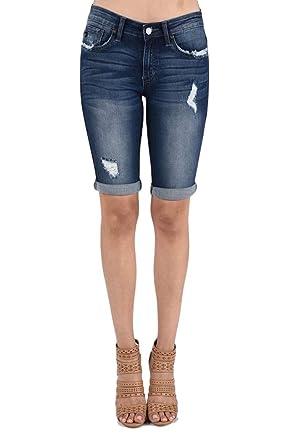ab4fcc3a3d19 KanCan Jeans Kevia-Lovis Mid-Rise Bermudas Shorts Dark Wash KC6110D (25/