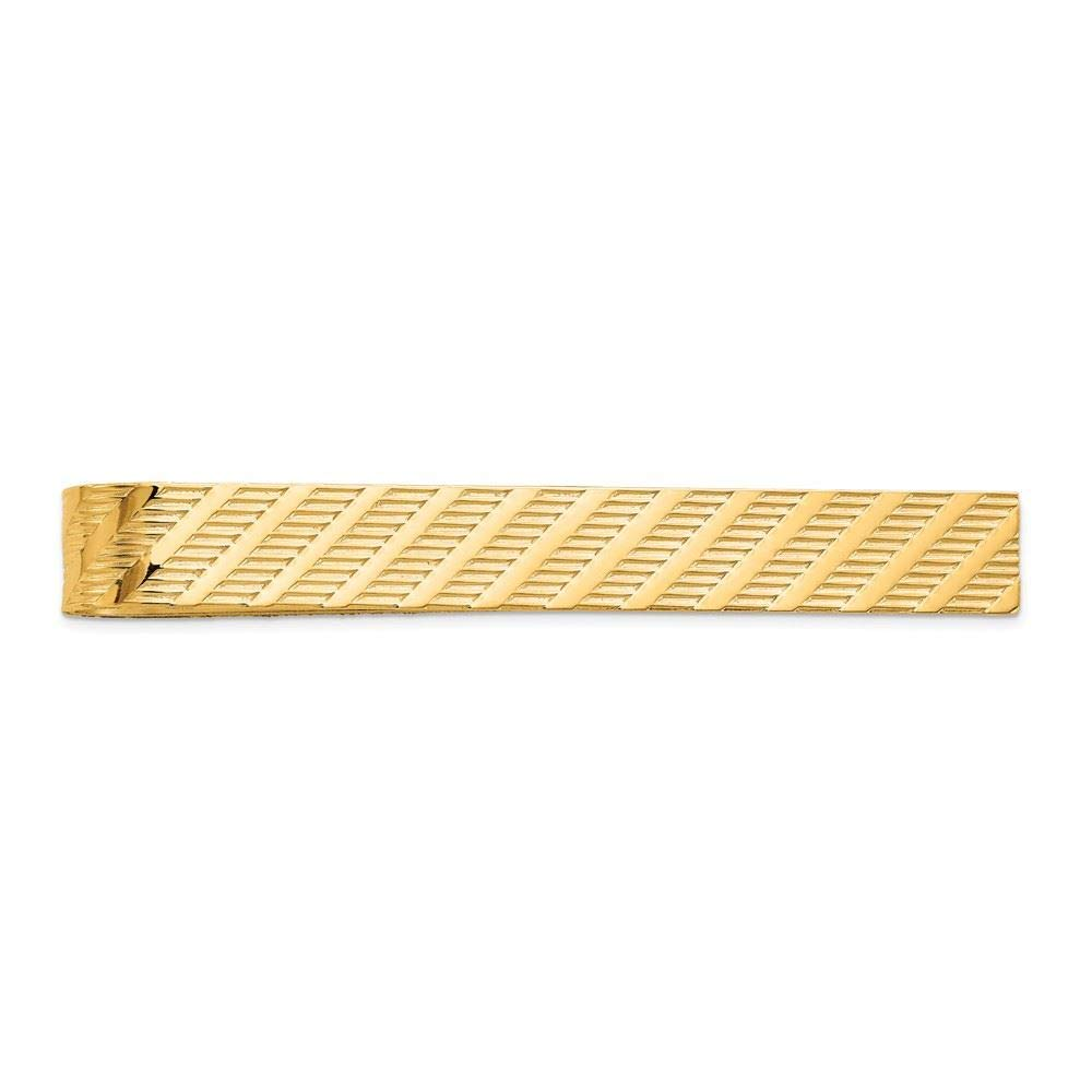 14K Yellow Gold Grooved Tie Bar Clip