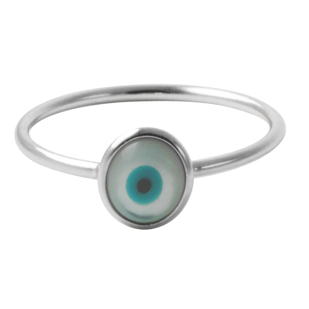 apop nyc Sterling Silver Blue Evil Eye Stacking Thin Ring Size 5 [Jewelry]