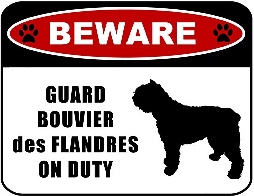 Beware Guard Bouvier des Flandres on Duty (silhouette) 11.5 inch x 9 inch Laminated Dog Sign