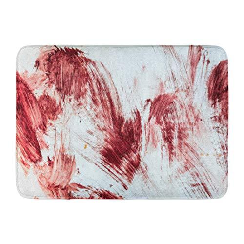 Emvency Doormats Bath Rugs Outdoor/Indoor Door Mat Red Horror Blood and Bloody Marks in Old Bathtub Halloween Floor Hospital Bathroom Decor Rug 16