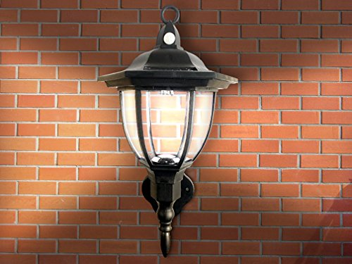 Solar Powered Wall Lamp- Motion Activated Security Lights- Wireless Outdoor Lantern- Beautiful (Stainless Flagpole Socket)