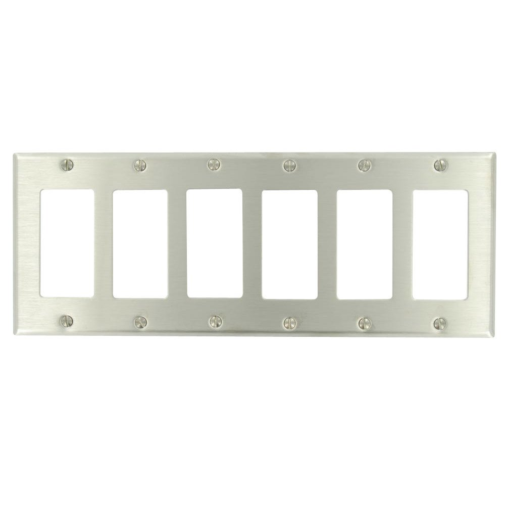 Leviton 84436-40 6-Gang Decora/GFCI Device Decora Wallplate, Device Mount, Stainless Steel