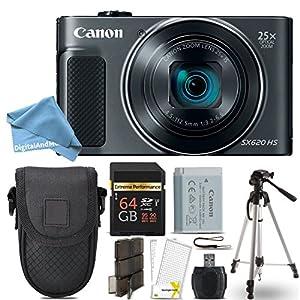 Canon PowerShot SX620 HS Digital Camera (Black) + 64GB Class 10 Memory Card + Point & Shoot Camera Case + Card Reader + Tripod + Screen Protector + Memory Card Case + DigitalAndMore Free Bundle