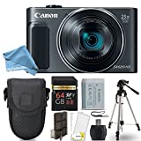 Canon PowerShot SX620 HS Digital Camera (Black) + 64GB Class 10 Memory Card + Point & Shoot Camera Case + Card Reader + Tripod + Screen Protector + Memory Card Case + DigitalAndMore Free Bundle