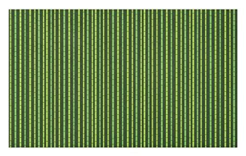 Lunarable Green Doormat, Tropical Exotic Nature Pattern of Bamboo Stems, Decorative Polyester Floor Mat with Non-Skid Backing, 30
