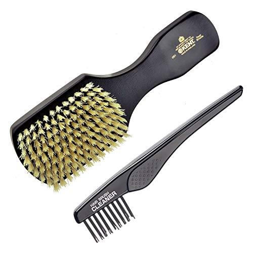 Kent OE1 Finest Men's Rectangular Club Ebony Wood Pure White Bristle Gentleman's Hair Brush+ Kent LPC2 Hair Brush Cleane. Best Hair Care Kit for Men, 360 Wave Brush, Encourages Hair Growth (OE1+LPC2)