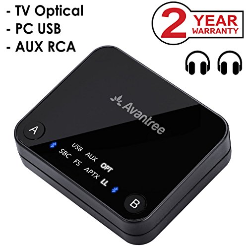 Avantree aptX LOW LATENCY Bluetooth Audio Transmitter for TV, DUAL LINK, NO DELAY, 100ft Long Range, OPTICAL, USB, 3.5mm AUX & RCA Wireless Adapter for PC & Headphones - Audikast (Audio Video Transmitter)
