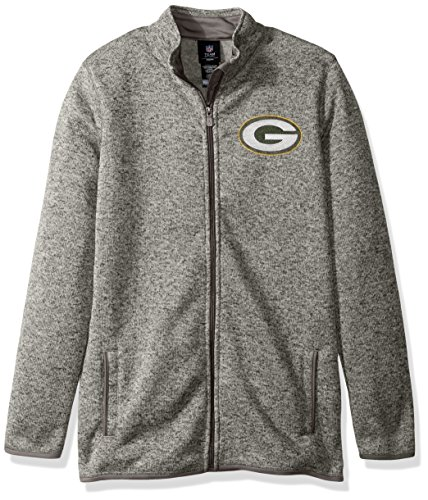 Outerstuff NFL Youth Boys Lima Full Zip Fleece Jacket-Cool Grey-S(8), Green Bay Packers