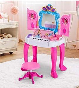 O.B Toys&Gift 2-in-1 Girls Piano & Vanity Table Princess Pretend Play Set w/ Magic Wand Controller , Piano Keyboard , Sounds & Flashing Lights , Keyboard Vanity Set