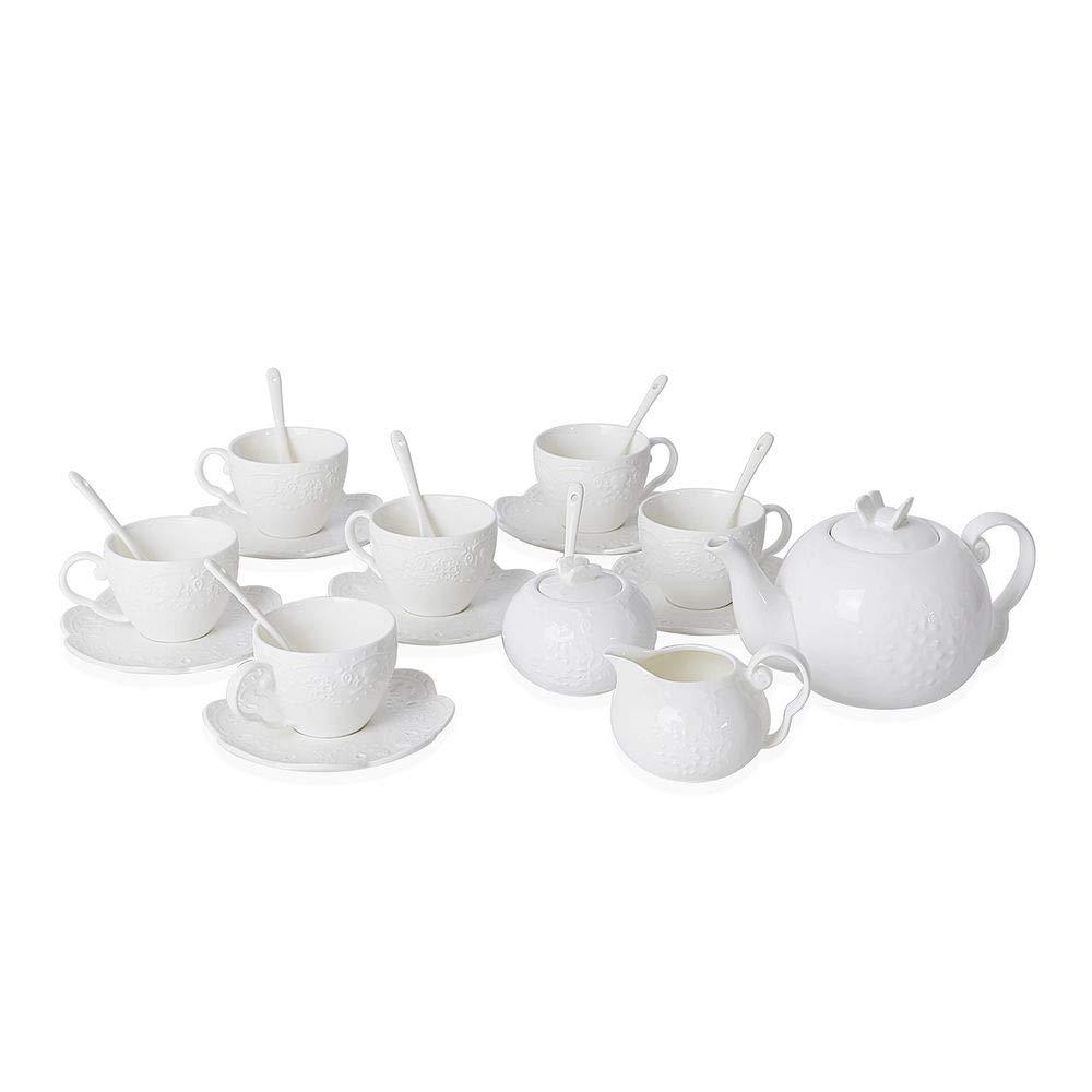 15 Pc Tea Set Tea Pot 6 Cups 6 Saucers Rack Coffee Cup Multi 7 oz Cups Gift Set