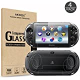 AKWOX (4-Pack) 2 Front+2 Back Covers Screen Protectors for Sony Playstation Vita 2000, 9H Tempered Glass Front Screen Protect