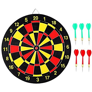 Crystallove 15  Professional Dart Board with 6pcs Darts Steel Tip Set for Leisure Sports and Game Room 38CM
