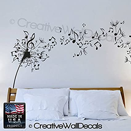 Wall Decal Vinyl Sticker Decals Art Decor Design Dandelion Music Note  Nature Plants Botanic Grass Forest