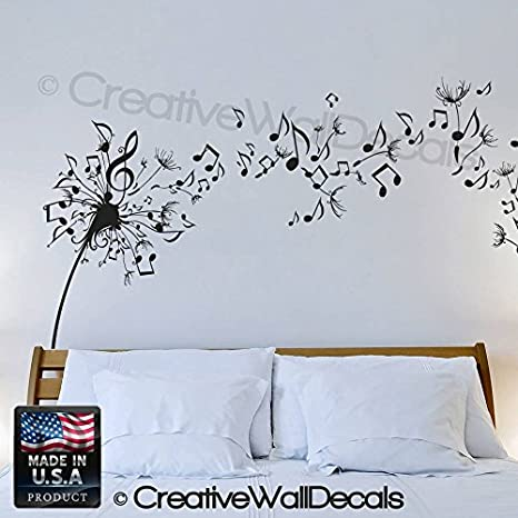 Amazon com wall decal vinyl sticker decals art decor design dandelion music note nature plants botanic grass forest bedroom living room nursery r640