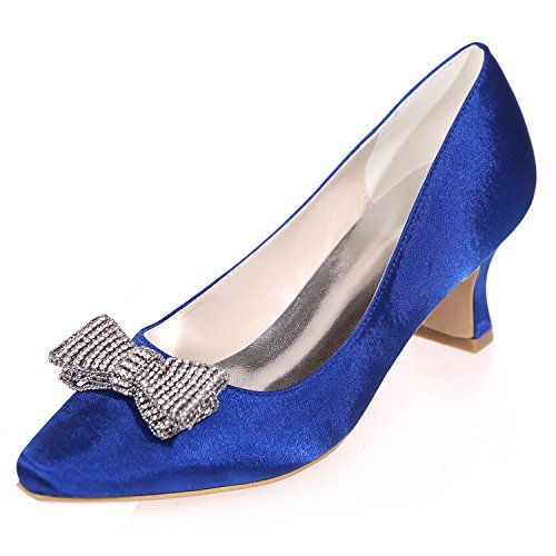 da Sposa con Punta Sposa Blue Punta 5 5 Prom Elobaby Sandali Scarpe Heel da Abito Raso Donna Flower Chiusa da a in Punta gwn6Zxqv