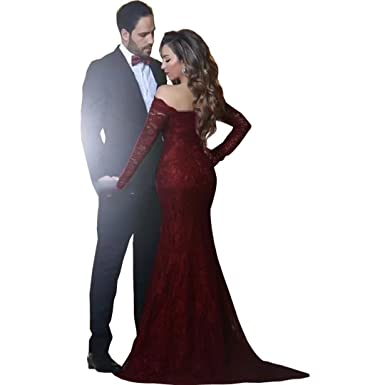 17cd50c52bf7 Chady Off Shoulder Burgundy Evening Dresses Full Sleeves Strapless for  Party Floor Length Lace Mermaid Prom