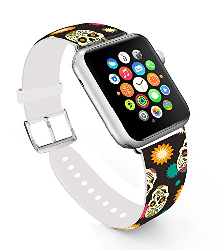 Apple Watch Band 42mm Skull, Replacement Band Genuine Leather Iwatch Strap With Silver Metal Clasp For for Apple Watch Series 1 Series 2 42mm - Skull and Star (Band Leather Watch Skull)