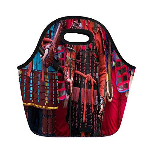 Semtomn Lunch Bags Black Japan Samurai Armour and Helmet Carnival Costumes Soldiers Neoprene Lunch Bag Lunchbox Tote Bag Portable Picnic Bag Cooler Bag