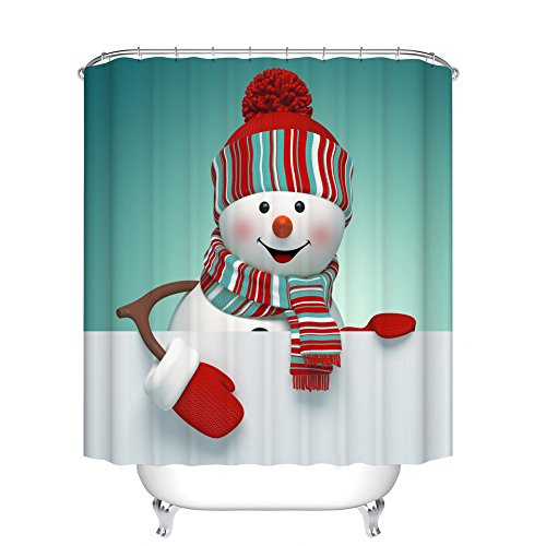 Snowman Bath - Fangkun Lovely Smiling Snowman Shower Curtain - Waterproof Mildew resistant - Polyester Fabric Bath Curtains Decor Set - 12pcs Shower Hooks (72 x 72 inches, YL038#)