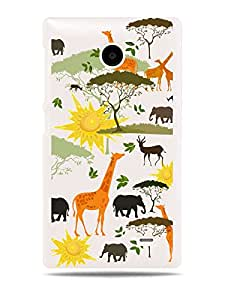 "GRÜV Premium Case - ""African Safari Theme with Giraffe and Elephants Nature Digital Art"" Design - Best Quality Designer Print on White Hard Cover - for Nokia X A110 RM-980"