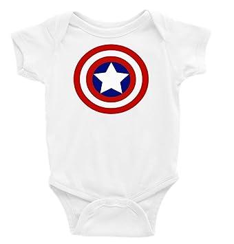 5d947e8bbbd7 Amazon.com  Captain America Shield Short Sleeves Unisex Onesie (3-6 ...