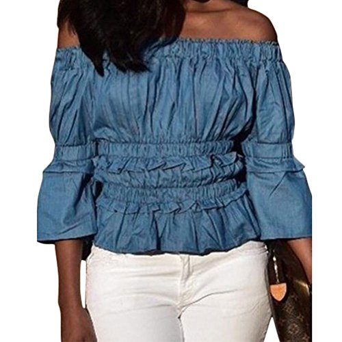 Jeans Ruched (Bodycon4U Women's 3/4 Sleeve Ruffles Off Shoulder Ruched Slim Fit Demin Tops Shirts Blouses Blue L)