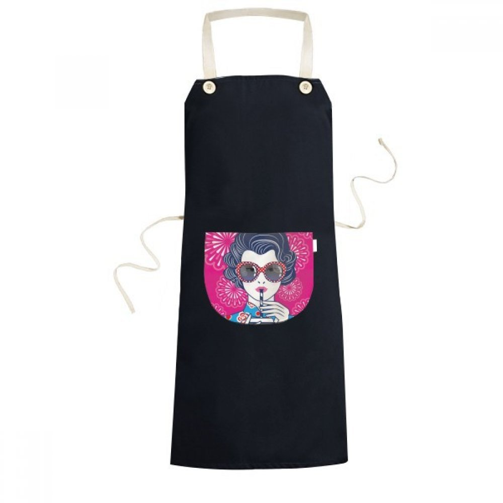 DIYthinker Chinese Culture Red Woman Glasses Cooking Kitchen Black Bib Aprons With Pocket for Women Men Chef Gifts