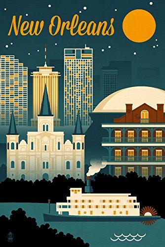 - New Orleans, Louisiana - Retro Skyline (12x18 Art Print, Wall Decor Travel Poster)
