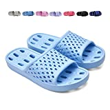 XUANHSU Shower Shoes for Women Bathroom Slippers Non Slip Soft Sandals Swimming Water Shoe (US 8-8.5 Women, Light Blue