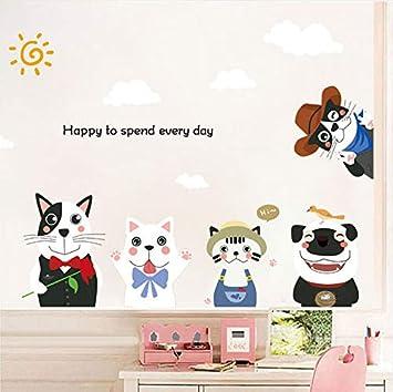 Kyzaa Cinco Perritos De Dibujos Animados Etiqueta De La Pared Pvc