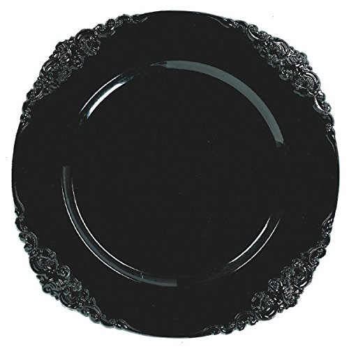 Amscan Reusable Halloween Party Elegant Black Motif Charger Tableware, Black, 13