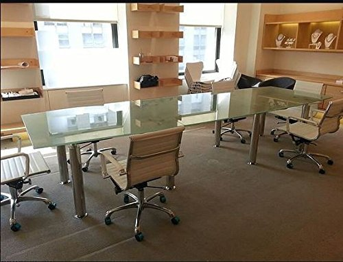 Modern tempered glass conference table 8' ft by 42'