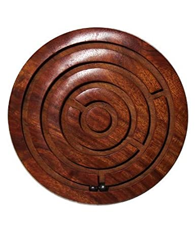 HOME DELIVERED Game Labyrinth, Ball-in-a-Maze Puzzles, Handcrafted in India Chakri Game Plate Kids Toy Hand Made Wooden Gift Item Office Home Stress Buster