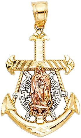 14K Two Tone Gold Religious Crucifix Anchor Charm Pendant For Necklace or Chain