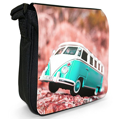 Shoulder Scene Turquoise Black Small Camper Bag Canvas Van Size XfUwnPq