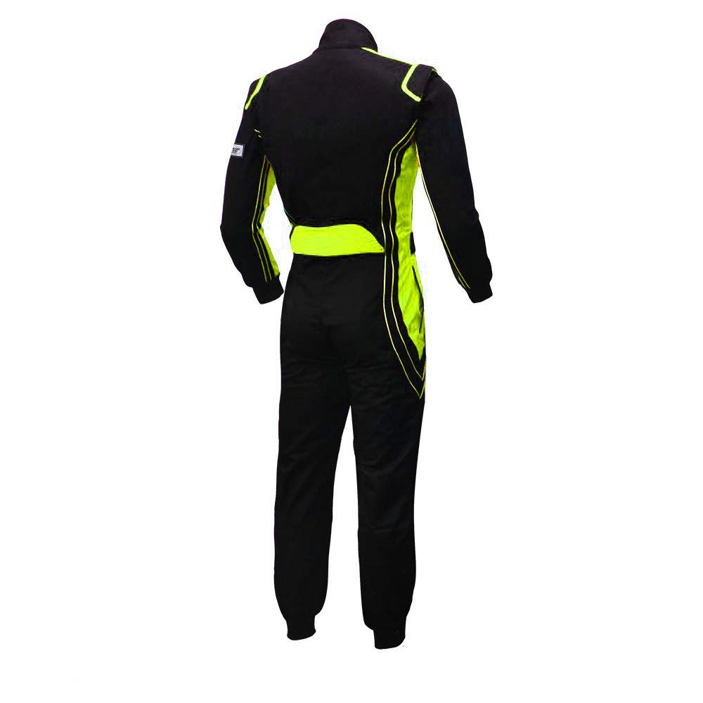 jxhracing RB-CR014 One Piece Auto Go Karts Racing Suit-SFI rated Large, Fluo Yellow