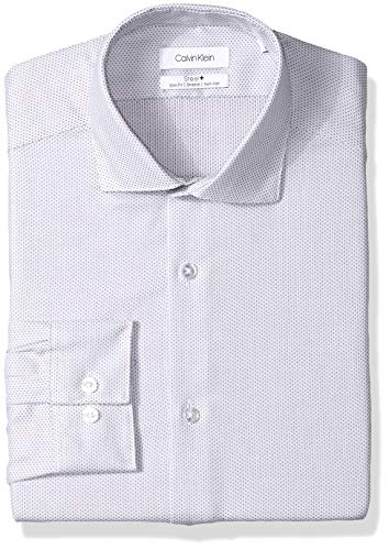 Calvin Klein Men's Dress Shirt Slim Fit Non Iron Stretch Print, Rock, 16
