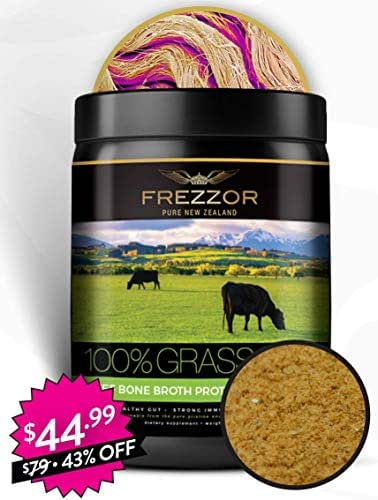 FREZZOR Pure New Zealand | Beauty Fitness & Pain Supplement | 100% Live Grass-fed Beef Bone Broth Collagen Protein | Beyond Organic | Superfood Antioxidants | Lemon Ginger | Lab Certified