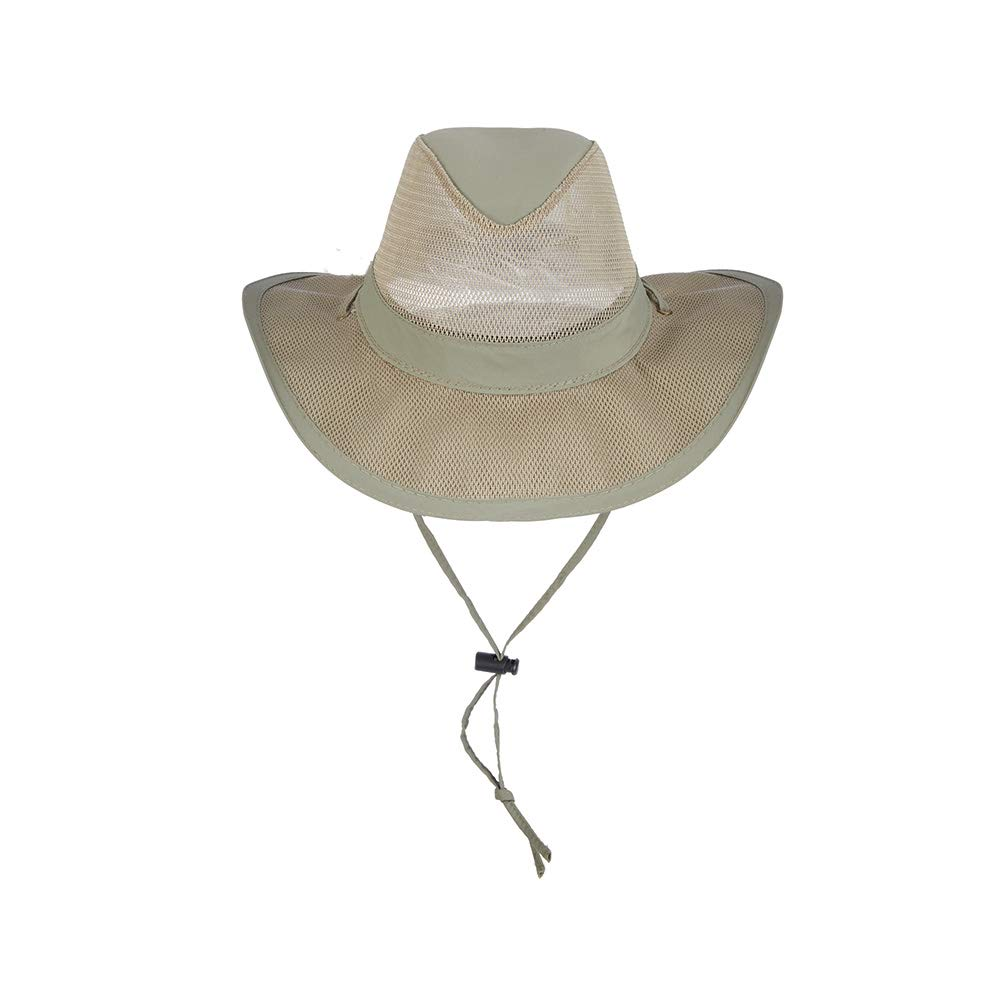 Dorfman Pacific Men's 4 Piece Suplex Pinch Front Safari Hat, Fossil, Medium